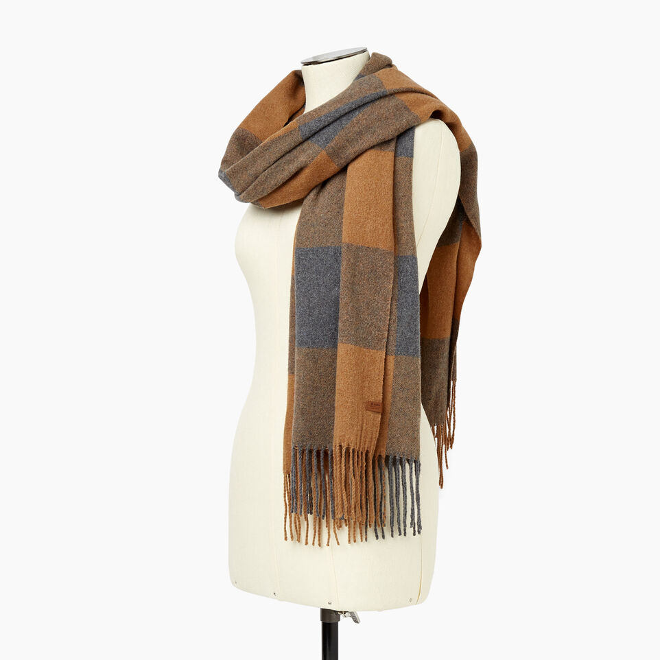 Roots-Women Scarves & Wraps-Roots Park Plaid Blanket Scarf-Camel-B