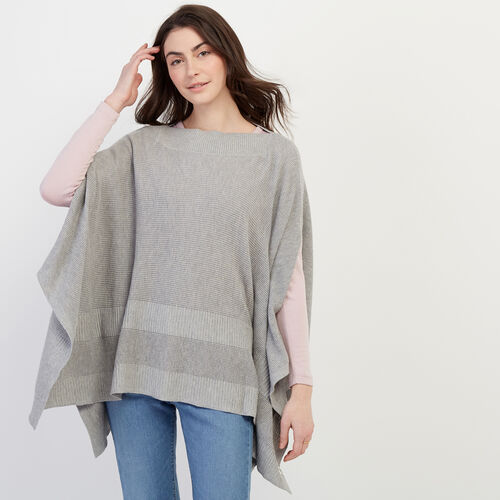 Roots-New For February Journey Collection-Journey Poncho-Grey Mix-A