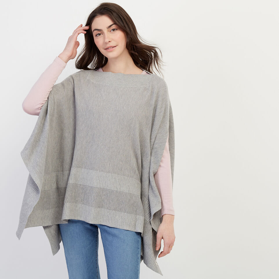 Roots-Women Our Favourite New Arrivals-Journey Poncho-Grey Mix-A