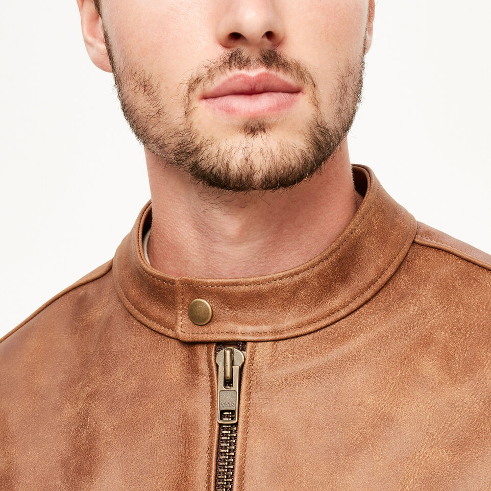 Roots-Leather Leather Jackets-Keith Jacket Tribe-Natural-E