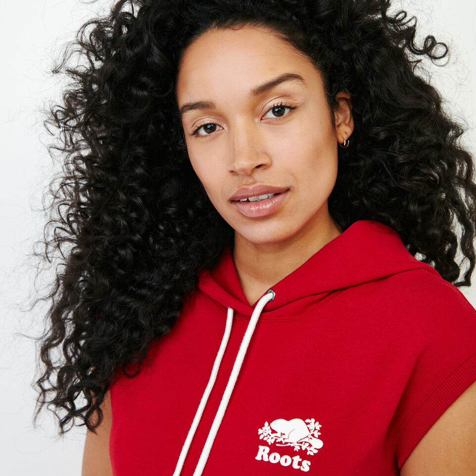 Roots-Women Our Favourite New Arrivals-Tyne Sleeveless Hoody-Sage Red-E