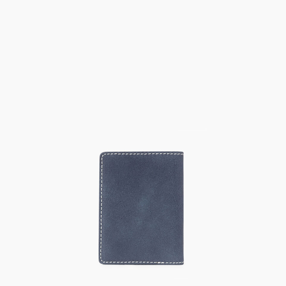 Roots-Leather Collections-Card Case With Id Tribe-Navy-B