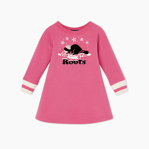 Roots-Gifts Buddy The Beaver-Baby Buddy Cozy Dress-Carmine Rose-A