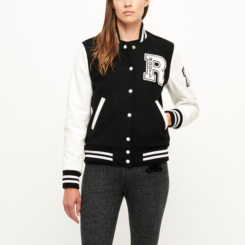 Roots-Leather  Handcrafted By Us Women's Award Jackets-Vintage Award Jacket-Black & White-A