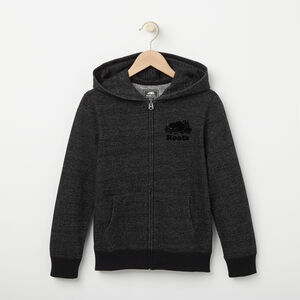 Roots-Kids Sweats-Boys Original Full Zip Hoody-Black Pepper-A