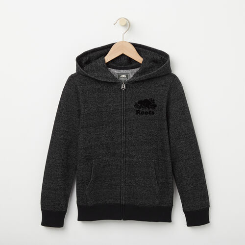 Roots-Clearance Kids-Boys Original Full Zip Hoody-Black Pepper-A