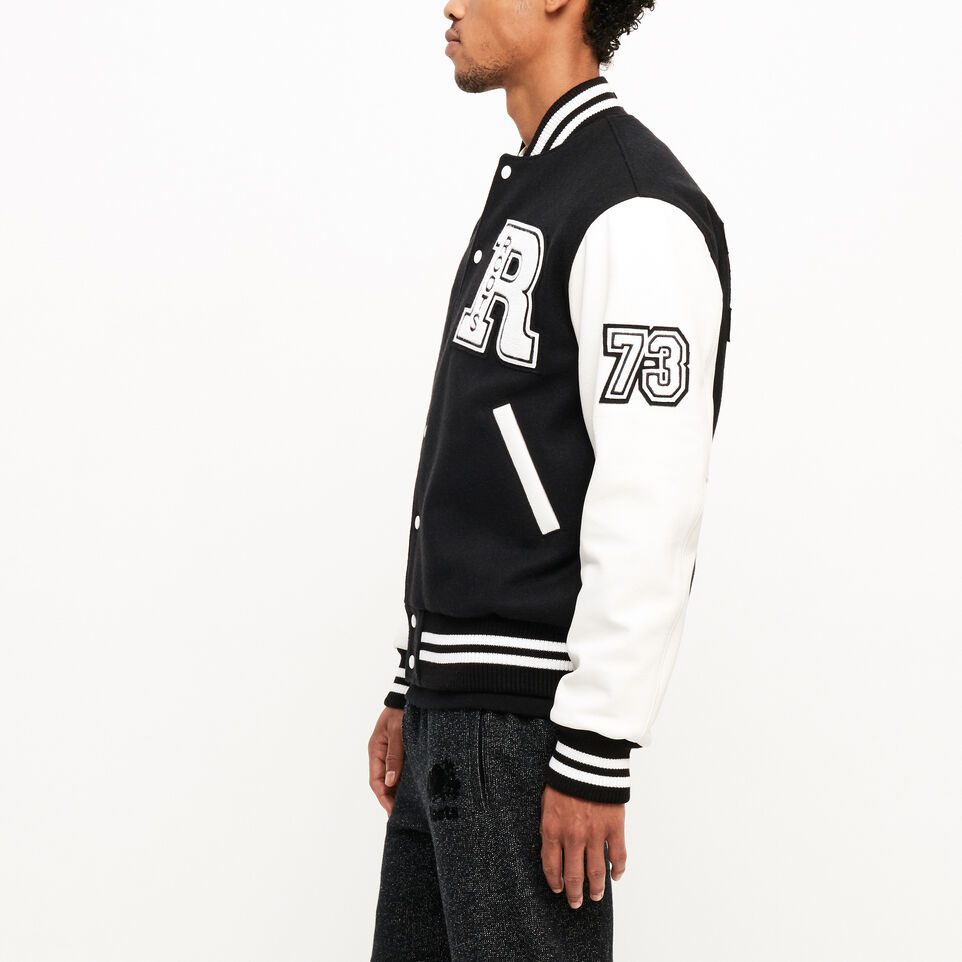 Roots-Leather  Handcrafted By Us Award Jackets-Vintage Award Jacket-Black & White-C