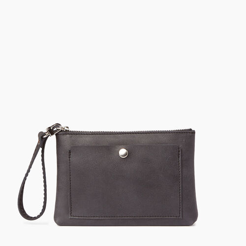 Roots-Women Leather Accessories-Riverdale Pouch-Jet Black-A