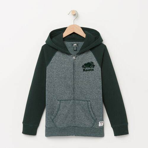 Roots-Clearance Kids-Boys Original Full Zip Hoody-Varsity Green-A