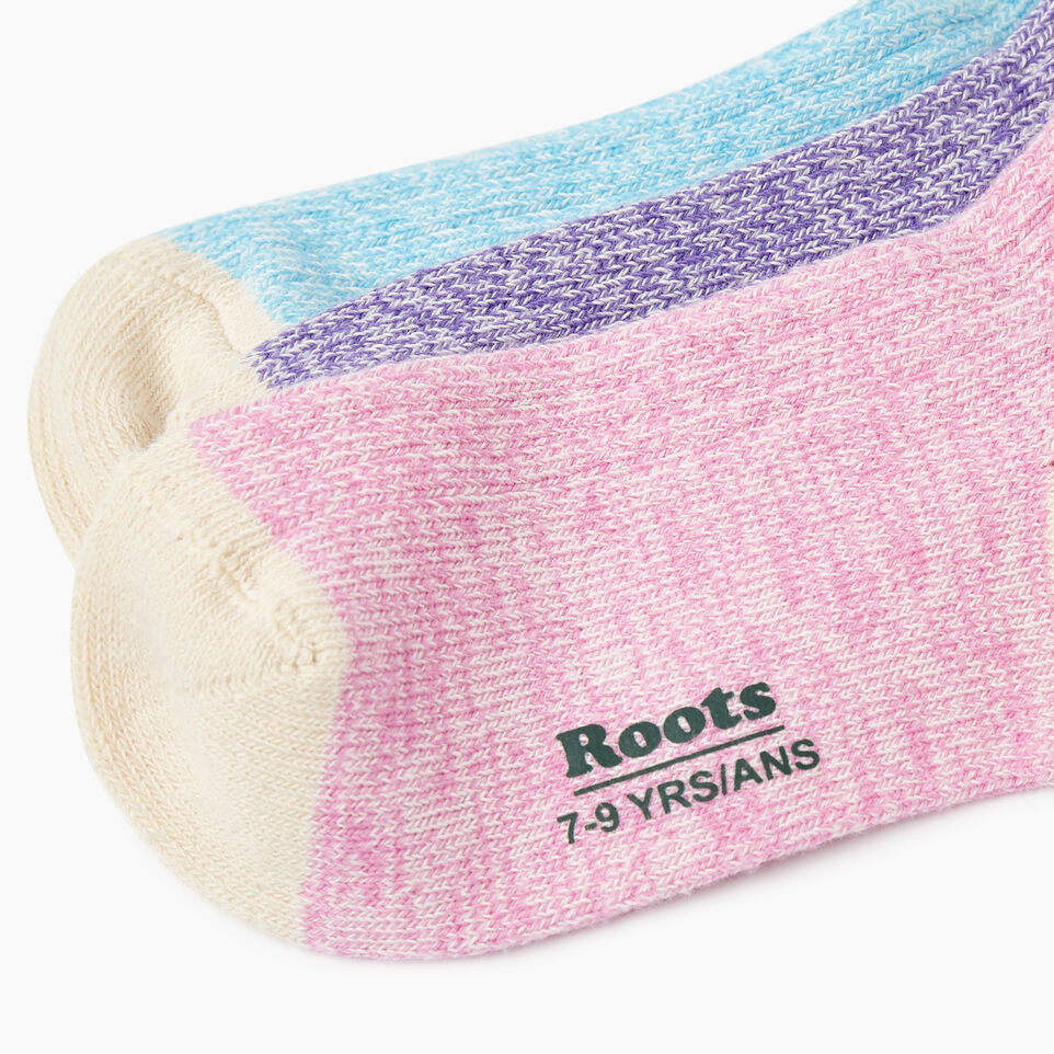 Roots-Kids New Arrivals-Kids Cotton Cabin Ankle Sock 3 Pack-Purple-D