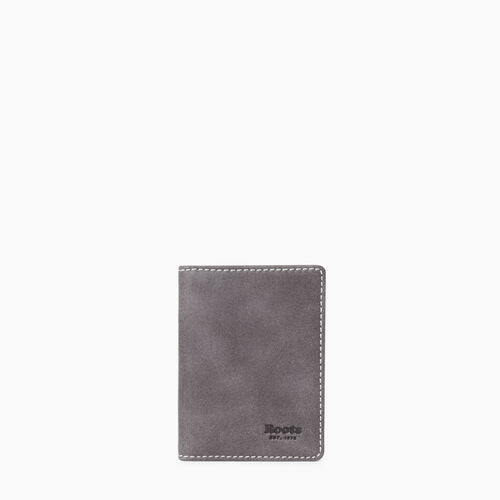 Roots-Leather  Handcrafted By Us Categories-Card Case With Id Tribe-Charcoal-A