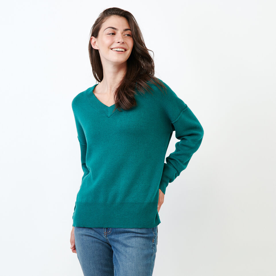 Roots-Women Categories-Alma V Neck Sweater-Teal Green-A