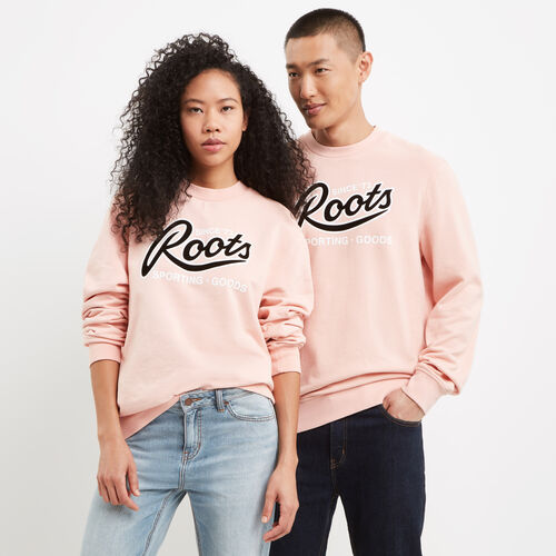 Roots-New For May Women-Roots Sporting Goods Crew Sweatshirt-Coral Cloud-A