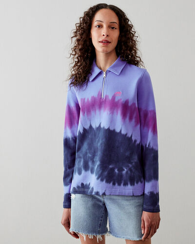 Roots-Sweats Sweatsuit Sets-Camp Tie Dye Polo Sweatshirt-Wedgewood-A