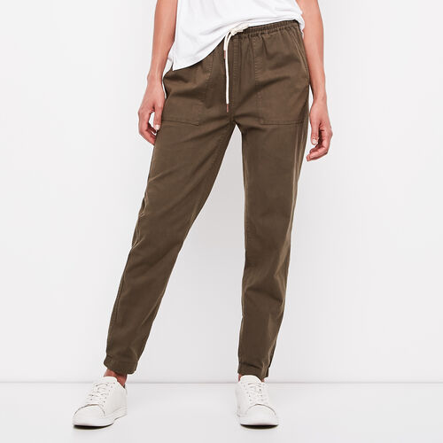 Roots-Women Bottoms-Elena Pant-Dark Olive Green-A