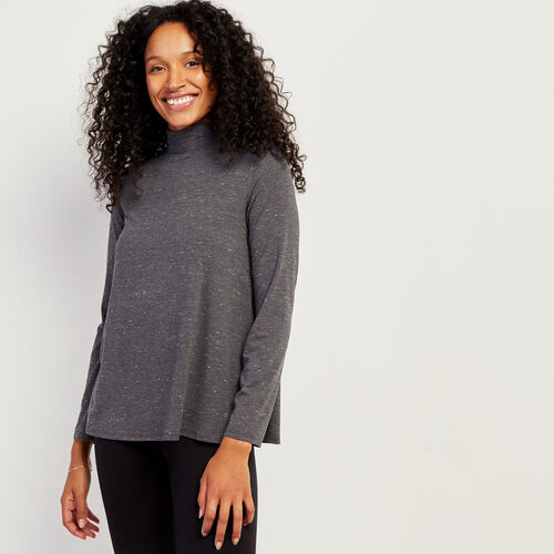 Roots-Women Long Sleeve Tops-Saybrook Turtleneck-Charcoal Mix-A