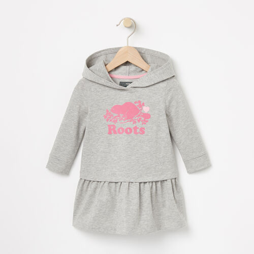 Roots-Kids Dresses-Baby Morgan Hooded Dress-Grey Mix-A