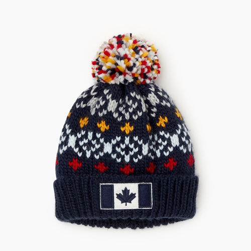 Roots-Clearance Kids-Kids Retro Fair Isle Toque-Navy-A