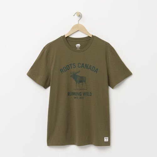 Roots-Men Categories-Mens Running Wild T-shirt-Dusty Olive-A