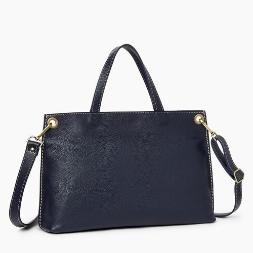 Roots-Leather Totes-Edie Tote Cervino-Navy-A