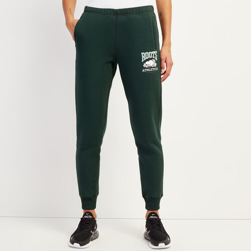Roots-Women Slim Sweatpants-RBA Slim Cuff Sweatpant-Park Green-A
