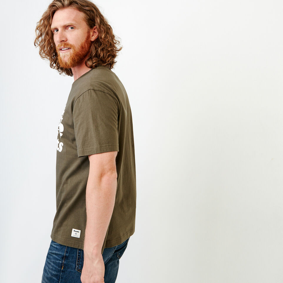Roots-Men New Arrivals-Mens Cooper Beaver T-shirt-Fatigue-D