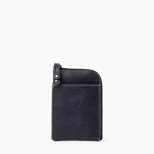 Roots-Leather Tech & Travel-Passport Phone Pouch Tribe-Dark Navy-A