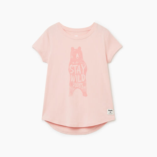 Roots-Kids Girls-Girls Animal T-shirt-Peachskin-A
