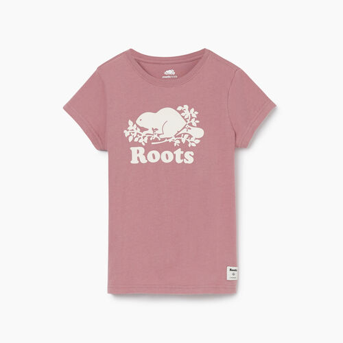 Roots-Kids New Arrivals-Girls Original Cooper Beaver T-shirt-Wistful Mauve-A
