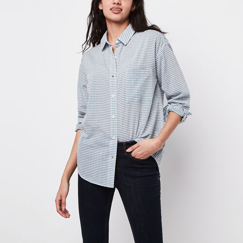 Roots-New For April Women-Arria Boyfriend Seersucker Shirt-Bluestone-A