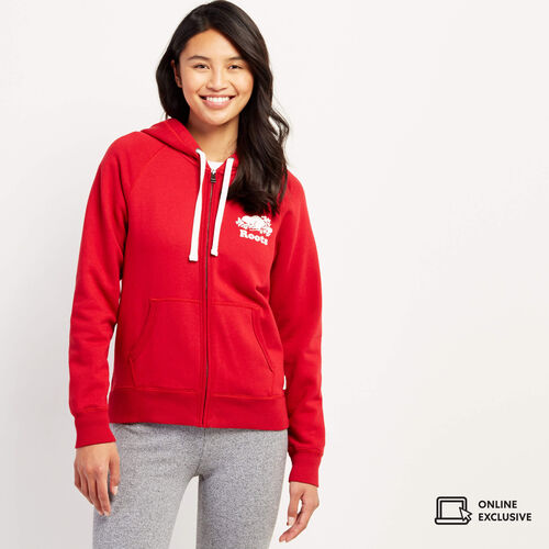 Roots-New For November Online Exclusives-Original Full Zip Hoody-Cabin Red-A