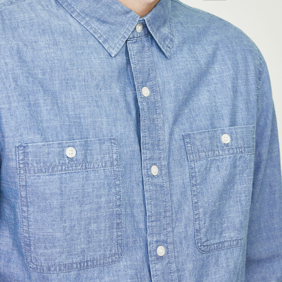 Roots-Men Our Favourite New Arrivals-Saltspring Work Shirt-Chambray Blue-E