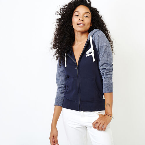 Roots-Women Sweats-Colour blocked Full Zip Hoody-Navy Blazer-A