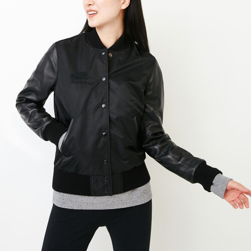 Roots-Leather Categories-Retro Varsity Jacket-Black-A