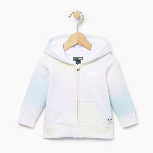 Roots-Kids Baby Girl-Baby Watercolour Full Zip Hoody-Ivory-A