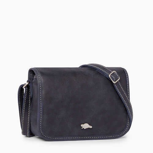 Roots Leather Handbags Angelina Bag Tribe Dark Navy A