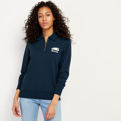 Roots-Women New Arrivals-Original Zip Polo-Navy Blazer-A