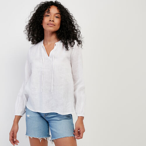 Roots-Women New Arrivals-Rimby Peasant Top-White-A