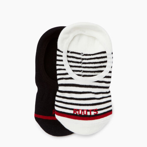 Roots-Women Accessories-Womens Stripe No Show Sock 2 pack-Black-A