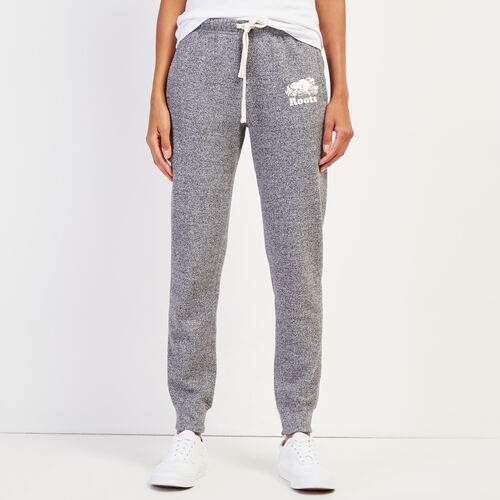 Roots-Women Slim Sweatpants-Slim Cuff Sweatpant - Tall-Salt & Pepper-A
