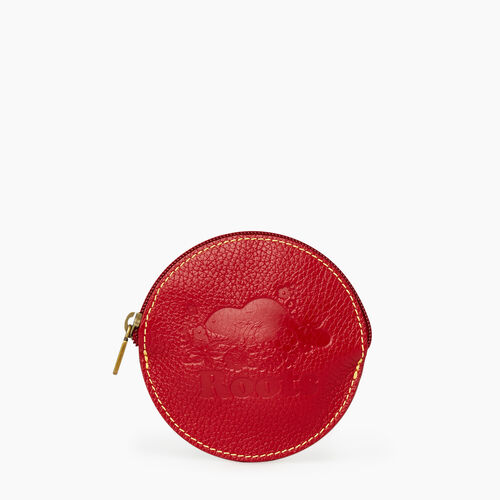 Roots-Women Leather-Floral Coin Pouch Prince-Red-A
