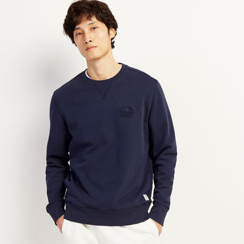 Roots-Men Clothing-Roots Organic Crew Sweatshirt-Navy Blazer-A