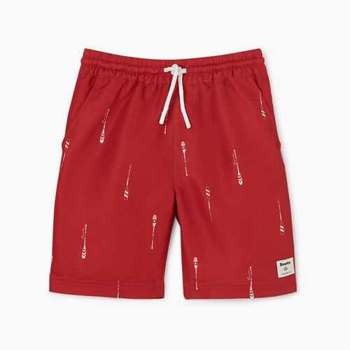 Roots-Kids Bottoms-Boys Packable Swim Short-Sage Red-A