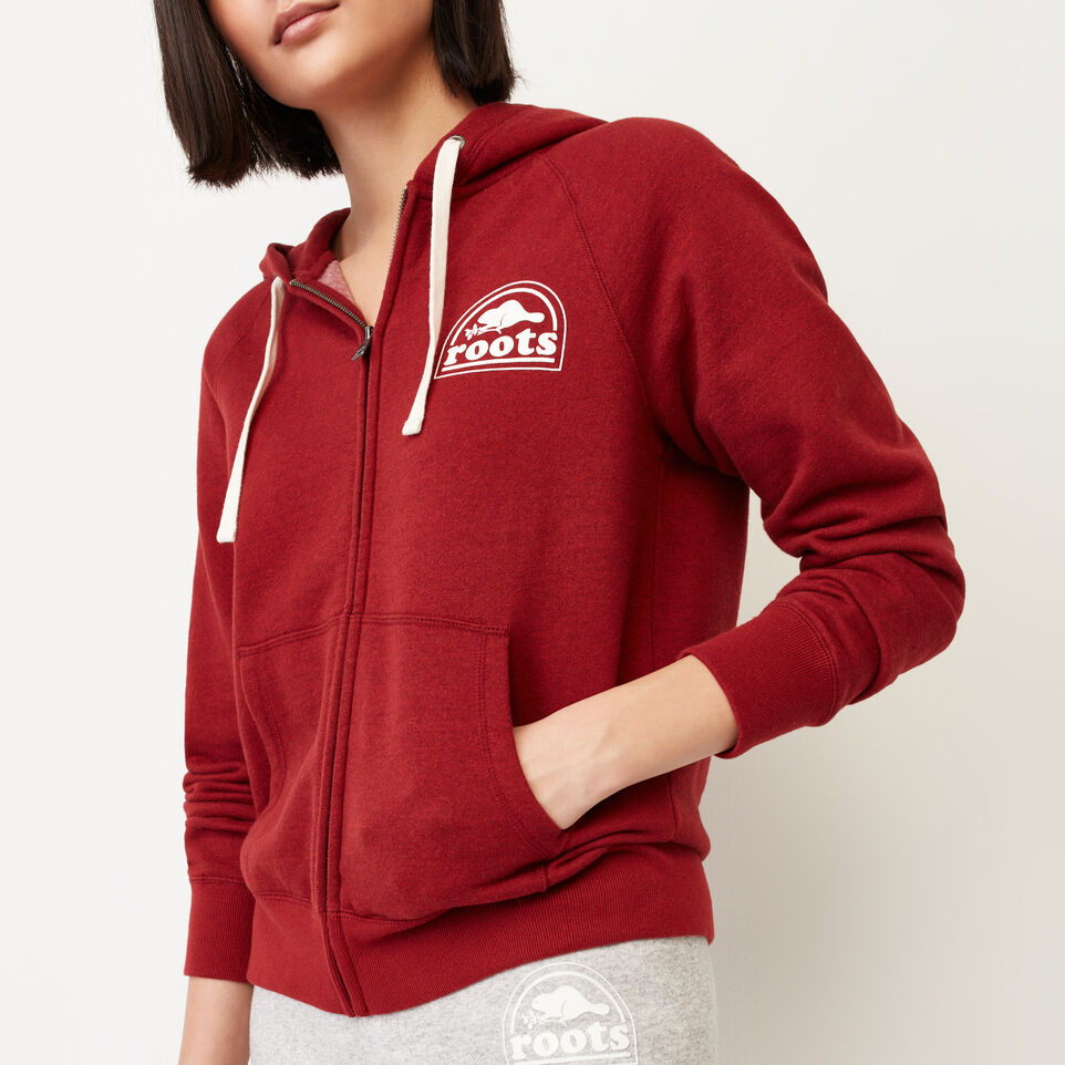 Roots-Clearance Women-Roots Vault Full Zip Hoody-Cabin Red Mix-E