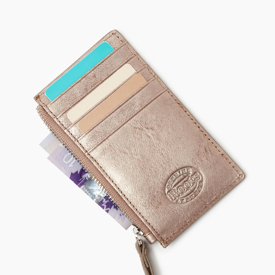 Roots-Leather  Handcrafted By Us Collections-Medium Card Wristlet-Champagne-D