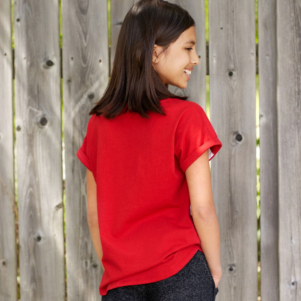 Roots-Kids Canada Collection-Girls Blazon T-shirt-Sage Red-B