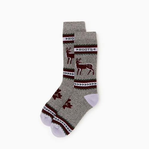 Roots-Women Socks-Woodland Creature Sock-Crimson-A