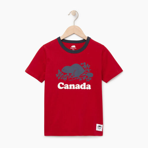 Roots-Kids Canada Collection-Boys Cooper Canada Ringer T-shirt-Sage Red-A
