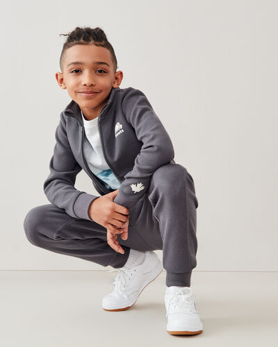 Roots-Kids Tops-Boys Woodland Full Zip Jacket-Forged Iron-A