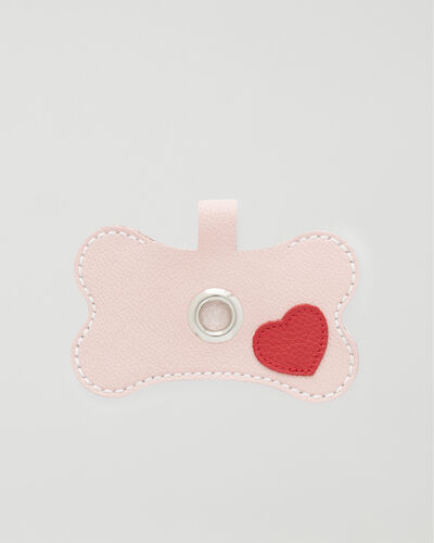 Roots-Leather Dog Accessories-Heart Dog Waste Bag Holder-Pink Pearl-A